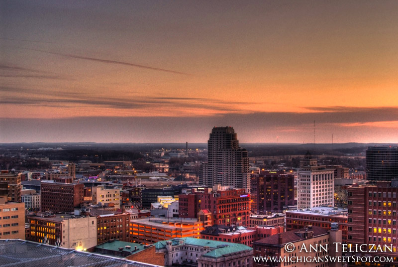 Downtown Grand Rapids from the Rooftop at Sunset